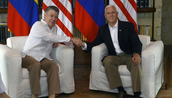 Mandatario colombiano y vicepresidente de EE.UU. se reunieron en el marco de sus relaciones estratégicas. (Foto: EFE)
