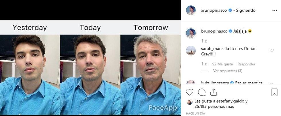 Bruno Pinasco se sumó a la moda del Faceapp. (Instagram @brunopinasco)
