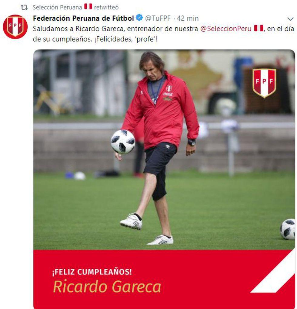 El saludo de la Federación Peruana de Fútbol por el cumpleaños de Gareca.