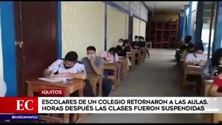 Suspenden clases presenciales en colegio que reinicio labores en Iquitos