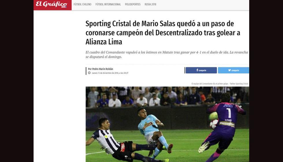 Así informó la prensa de Chile sobre la goleada del Sporting Cristal de Mario Salas (Foto: Captura de pantalla).