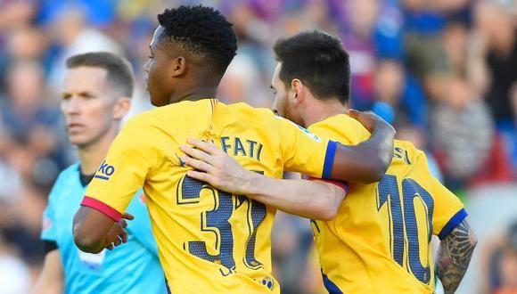 Lionel Messi y Ansu Fati fueron compañeros en FC Barcelona durante dos temporadas. (Foto: AFP)