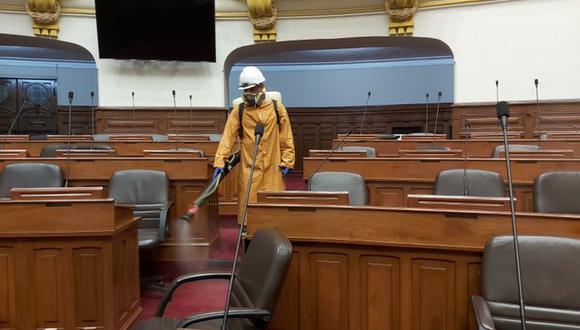 Fumigación en las instalaciones del Congreso incluyen a todas las sedes y ambientes. Foto: Parlamento Nacional