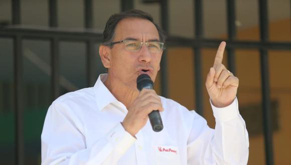 El presidente Martín Vizcarra declaró a la prensa en Pucallpa. (Foto: USI)