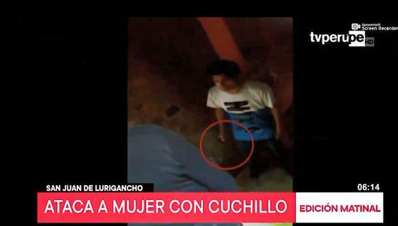 Agraviada grabó a su ex pareja cuando fue amenazada con un cuchillo. (Captura: TV Perú Noticias)