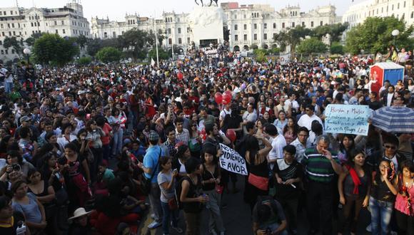 En la Plaza San Martín se realizó un mitin de cierre por la Marcha por la Igualdad. (Mario Zapata/Perú21)