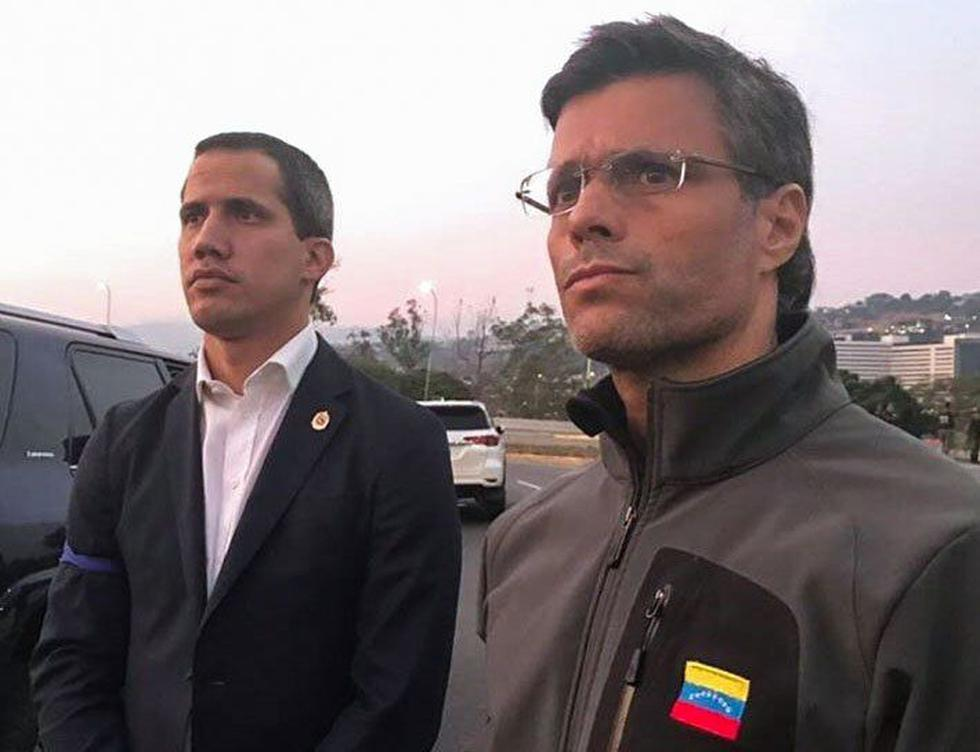 Juan Guaidó y Leopoldo López en la base militar La Carlota (Vía Twitter: @leopoldolopez)