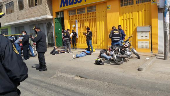 Los asaltantes fueron detenidos en flagrancia. Uno de ellos se hacía pasar por repartidor de Glovo. (Foto archivo: PNP)