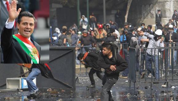 DISTURBIOS. Miles de estudiantes intentaron boicotear la juramentación del presidente Peña Nieto. (AP)