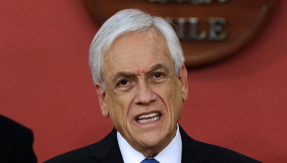 Imagen del presidente de Chile, Sebastián Piñera, hablando en el palacio presidencial de La Moneda, en Santiago, el 12 de octubre de 2021. (Foto: Javier SALVO / ATON CHILE / AFP)