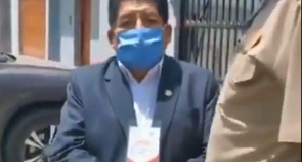 Hipólito Chaiña Contreras llevaba un fotocheck al momento de su intervención. (Foto: Twitter)