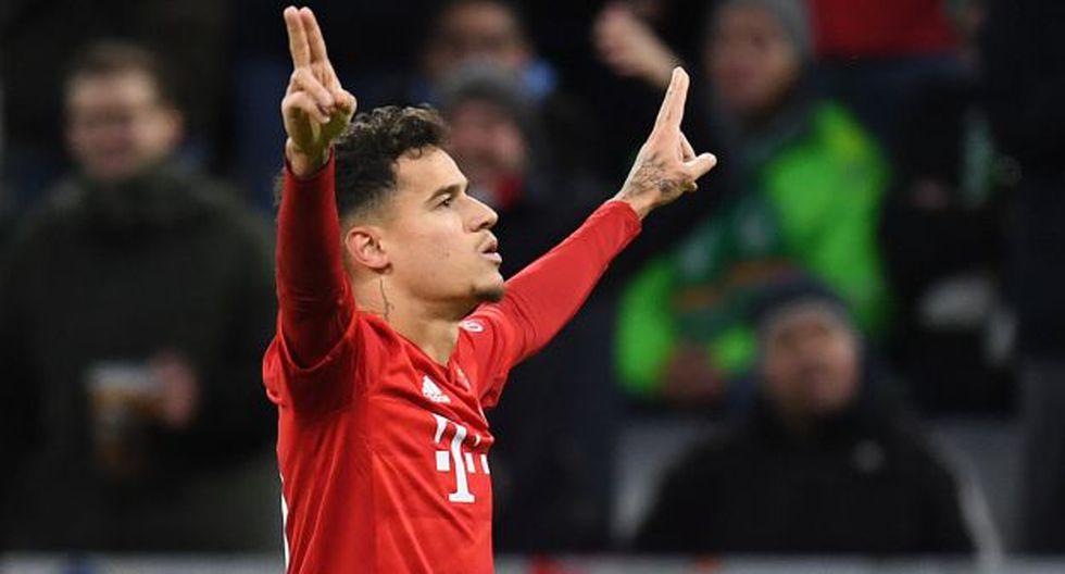 Philippe Coutinho ha participado en 19 partidos ligueros con Bayern Múnich y ha anotado 6 goles. (Foto: AFP)
