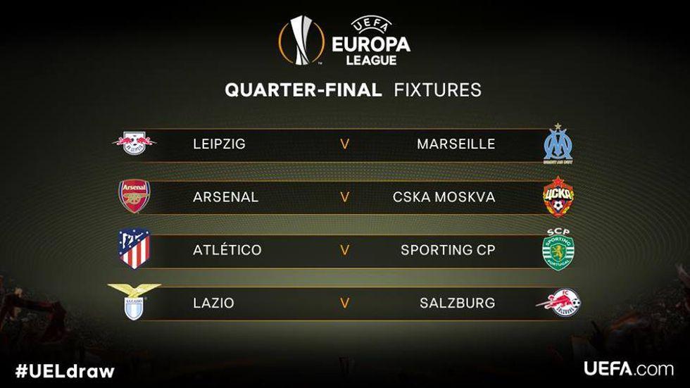 Así quedaron los emparejamientos de cuartos de final de la UEFA Europa League. (Foto: UEFA).