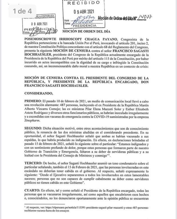 Moción de censura presentada contra Francisco Sagasti. (Foto: Congreso)