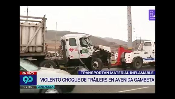 Choque de camiones en Ventanilla. (Foto: Captura de video / 90 Sábado)