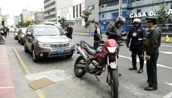 La Policía Nacional apoyará al serenazgo de los distritos en los operativos contra las motos. (Difusión)