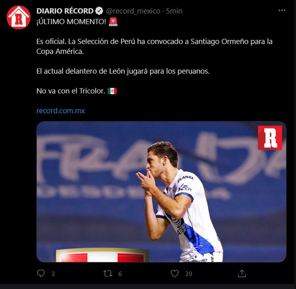 La prensa mexicana reaccionó después de la convocatoria de Santiago Ormeño a la selección peruana. (Foto: Captura)