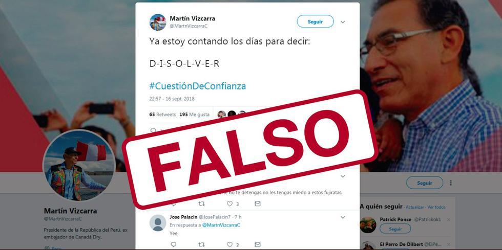 Advirten sobre cuenta falsa del presidente Vizcarra (Presidencia)