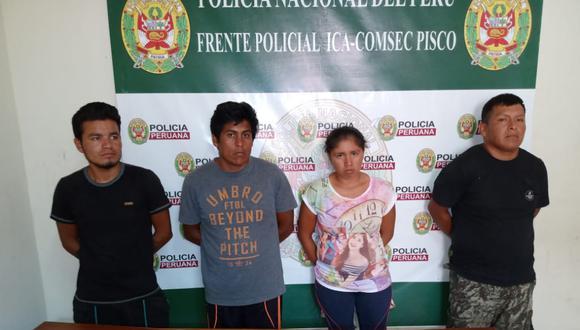 Ica. Banda fue capturada por la Policía en delito flagrante. (PNP)