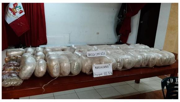 La Libertad: las autoridades hallaron 60 paquetes ovalados, que contenían cannabis sativa.