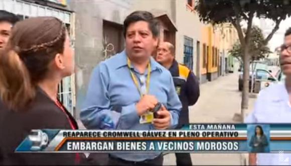 Cromwell Gálvez reapareció y ahora embarga bienes a vecinos morosos de Breña. (Captura de TV)