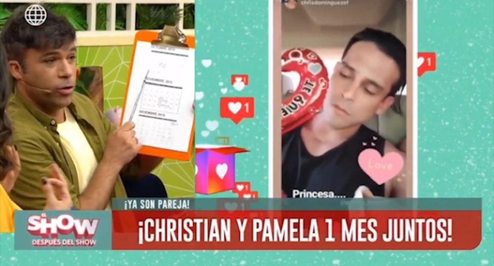 Christian Domínguez y Pamela Franco celebraron su primer mes, pese a que las fechas no coinciden. (Imagen: América TV)