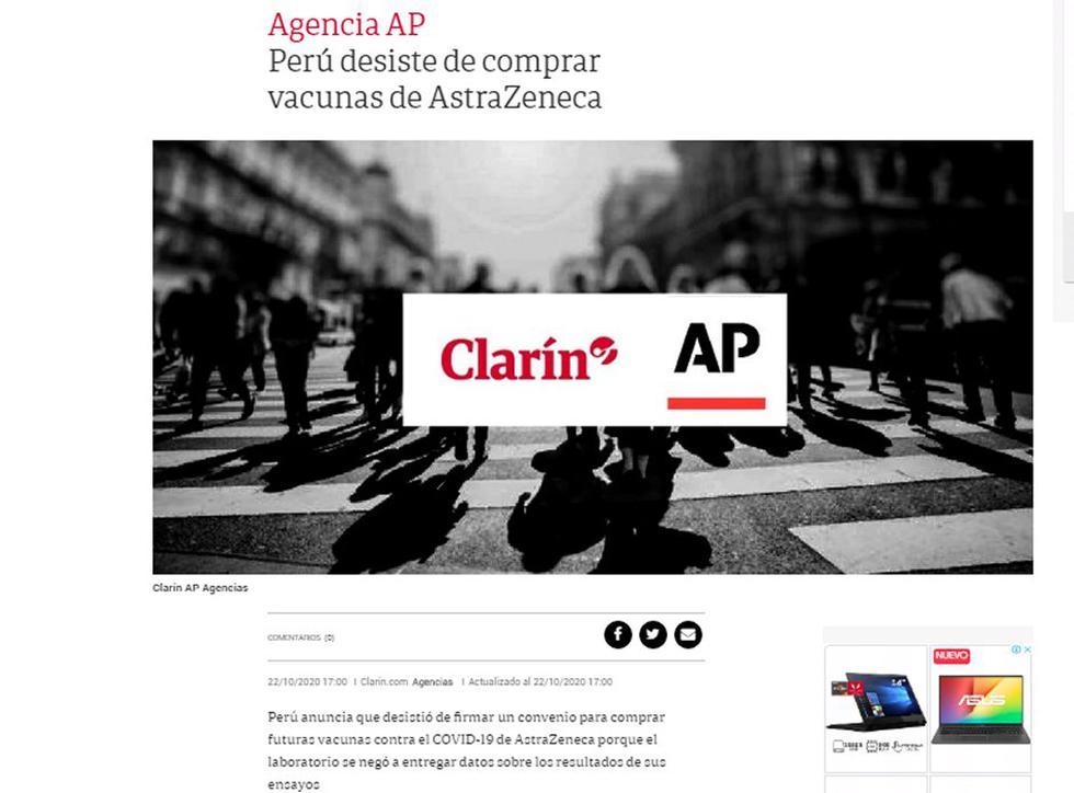 Desde Argentina informan de la negativa de Perú. (Foto: Clarín)