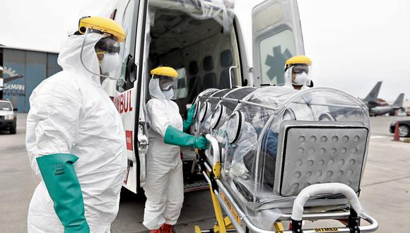 Ministerio de salud instala hospital movil en el aeropuerto frente a posible ingreso de COVID-19. (Angela Ponce)