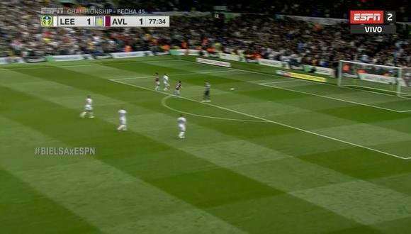 El Leeds dejó que Aston Villa anote un gol por orden de Marcelo Bielsa. (Captura: ESPN)