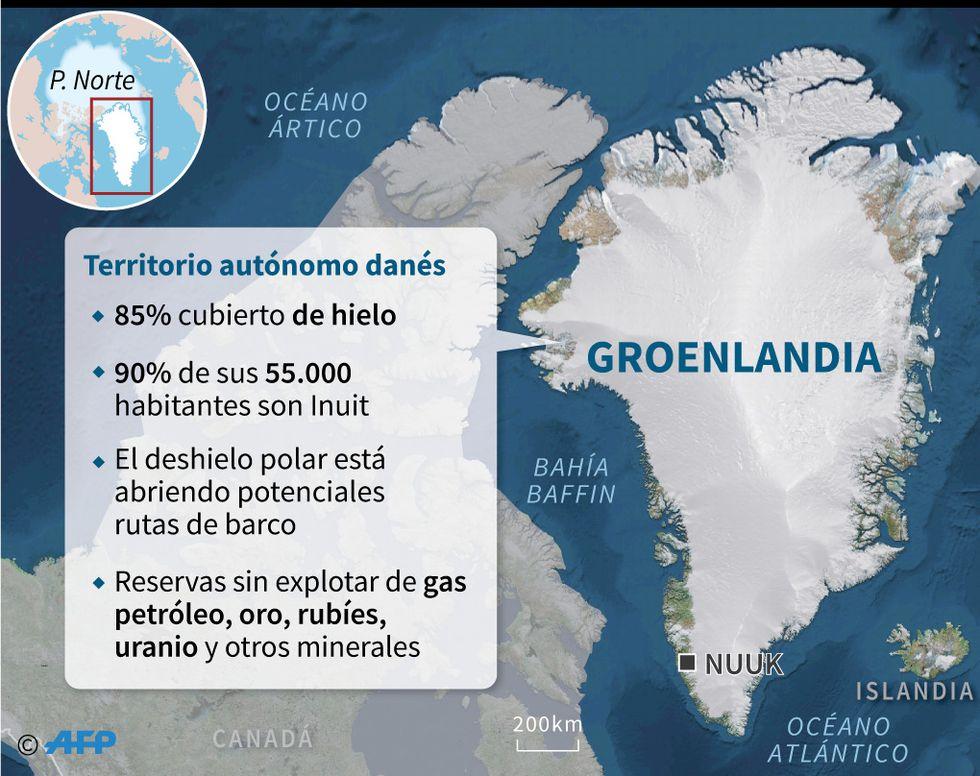 Mapa de Groenlandia con datos clave sobre este territorio autónomo danés. (AFP)