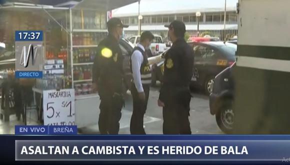 La Policía llegó al lugar donde ocurrió el asalto al cambista, en Breña. (Foto: Canal N)