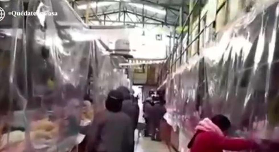 Comerciantes protegen su salud y de sus clientes en Cerro de Pasco. (Captura/AméricaTV)