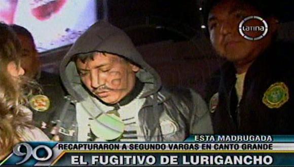 Segundo Vargas Moyano fugó hace casi un mes de Lurigancho junto a otros cuatro delincuentes. (Captura de TV)