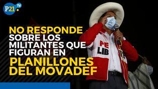 Pedro Castillo no declara sobre militantes que figuran en planillones del Movadef