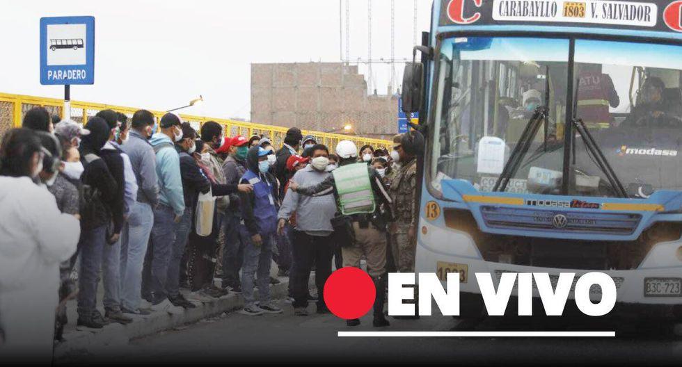 Paradero Puente Nuevo hoy con personas que pugnan por ir a sus trabajos. (Foto: Violeta Ayasta/GEC)