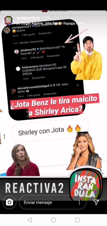 Jota Benz le mandó un mensaje a Shirley Arica. (Instagram)