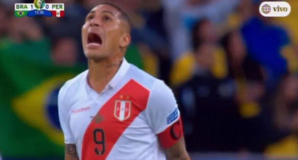 Perú vs. Brasil: Paolo Guerrero y su grito de impotencia frente al primer gol de Brasil. (América TV)