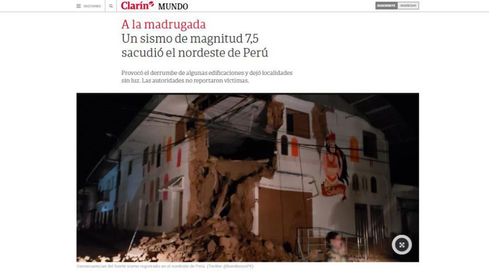 Terremoto en el Perú: Así informa Clarín de Argentina sobre el potente sismo en Loreto. (Captura)