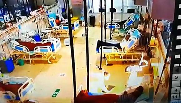 Captan el momento en que una máquina de oxígeno se incendió en una UCI de pacientes covid-19. Ocurrió en un hospital de la India. (Foto: @mybmc / Twitter)