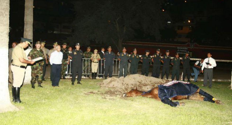 Víctima de la violencia. Ministro Wilfredo Pedraza asistió al entierro de yegua de la Policía. (Rolando Ángeles)