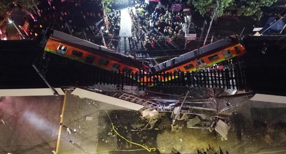 Fotografía tomada con un dron que muestra el colapso de los vagones del metro de la Ciudad de México. (EFE/ Sáshenka Gutiérrez).