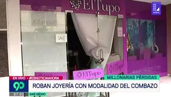 Delincuentes ingresaron bajo la modalidad del 'combazo' a una joyería. (Foto: Captura Latina)