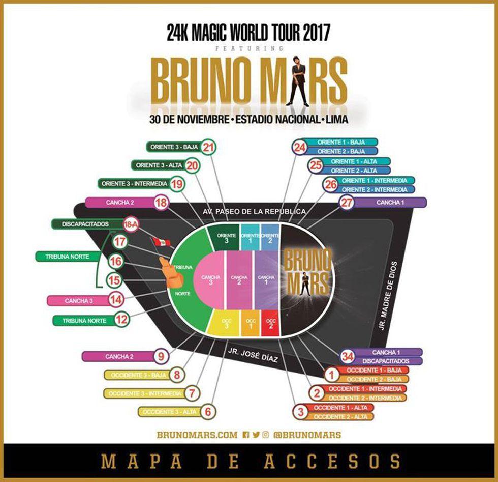 Puertas de ingreso al concierto de Bruno Mars