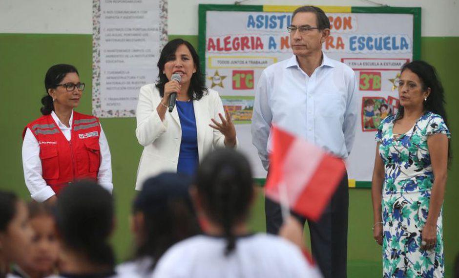 Junto al presidente de la República, Martín Vizcarra, la ministra de Educación, Flor Pablo, participó en una actividad en un colegio del Cercado de Lima. (Difusión)