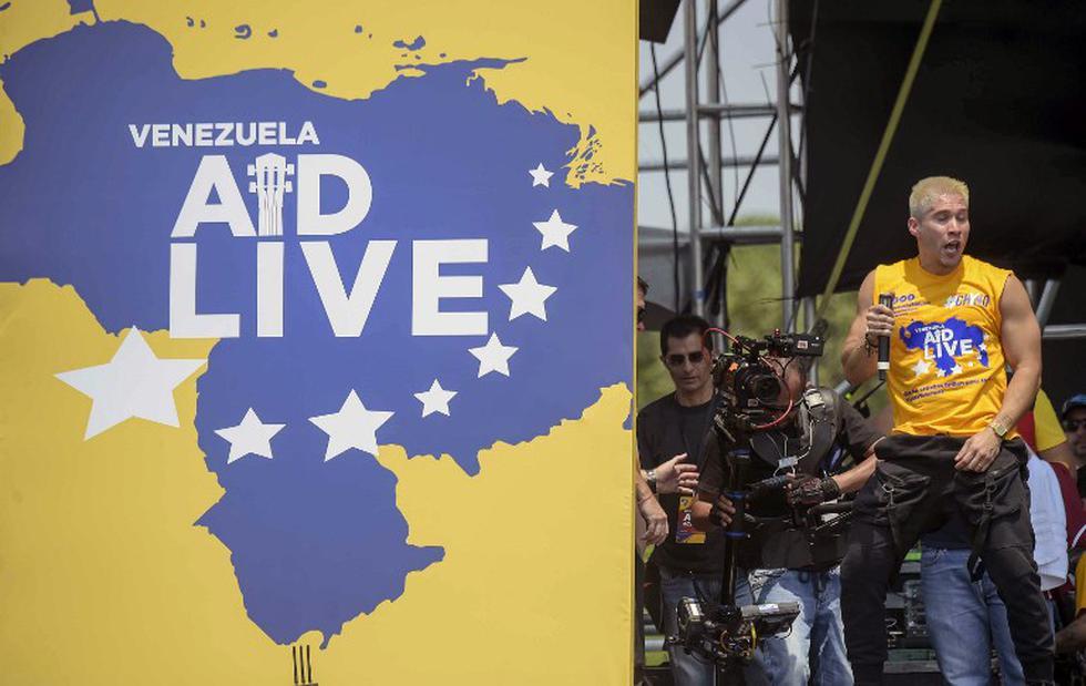 Venezuela AID Live: Así fue la accidentada presentación de Chyno Miranda en el festival (Foto: AFP)