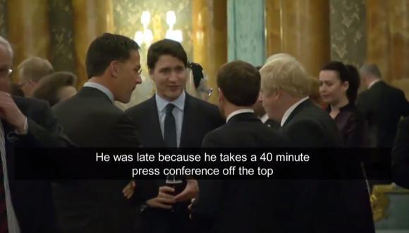 En el video, Macron parece contar una anécdota sobre el encuentro, ante las miradas de la princesa Ana y el primer ministro holandés, Mark Rutte, pero el galo da la espalda a la cámara y sus palabras son inaudibles. (CBS Canadá)
