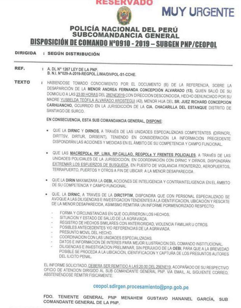 Desaparece hija menor de juez Concepción Carhuancho