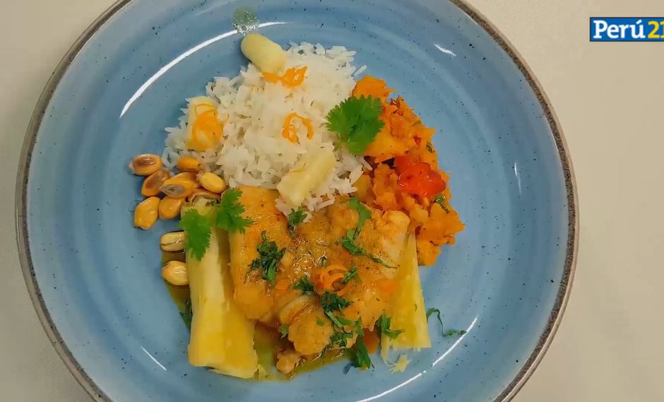 Acompañar la preparación con arroz blanco, yuca sancochada y canchita serrana.