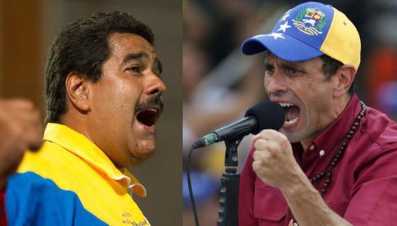 ¿Quién será? Capriles (derecha) se ha mostrado, esta vez, más combativo contra el chavismo. (AFP)