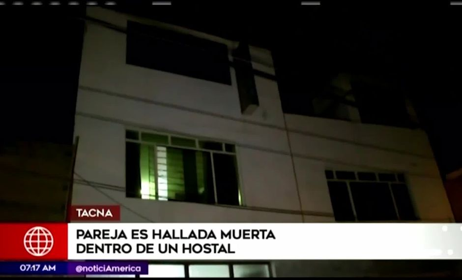 La pareja fue hallada muerta la noche del último viernes en el interior de un hospedaje en Tacna. (Foto: Captura América Noticias)